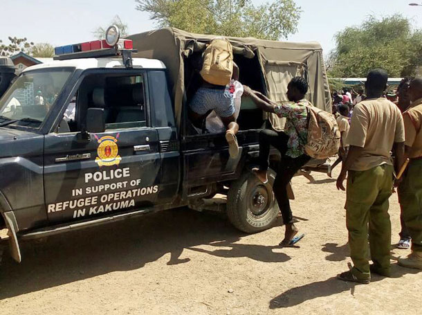 Police at the Kakuma refugee camp in Kenya transport Ugandan LGBTI refugees. (Photo courtesy of Rainbow Kenya)
