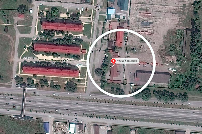 Aerial photo of the location of the secret prison in Argun, Chechnya. (Photo courtesy of Crime Russia)