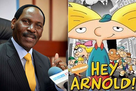 "Ezekiel Mutua (left), chief executive of the Kenya Film Classification Board has moved to ban gay-friendly cartoons, including ""Hey Arnold,"" right. (Images courtesy of Nairobi News)"