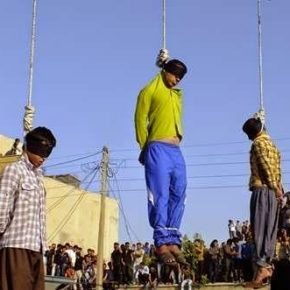 These three men, hanged in Iran in 2014, may have been convicted and executed for same-sex activity. (Photo courtesy of Iran Human Rights)