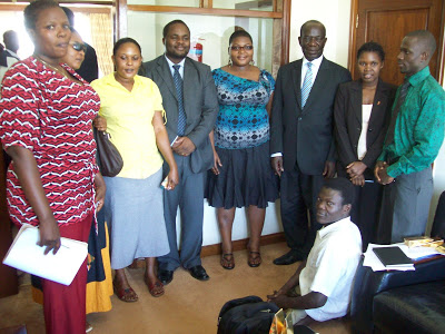 Seeking improved access to health care, LGBTI and sex worker activists meet in 2010 with current Ugandan Vice President Edward Kiwanuka (fourth from right) when he was still speaker of Ugandan parliament. (Uganda Health and Science Press Association photo)