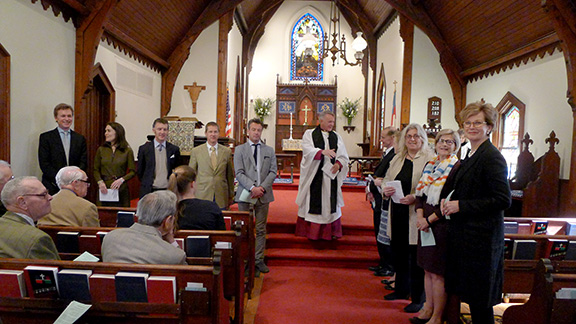 The Rev. Albert Ogle and the vestry (governing board) of St. Peter's, Lithgow, N.Y., in 2015.