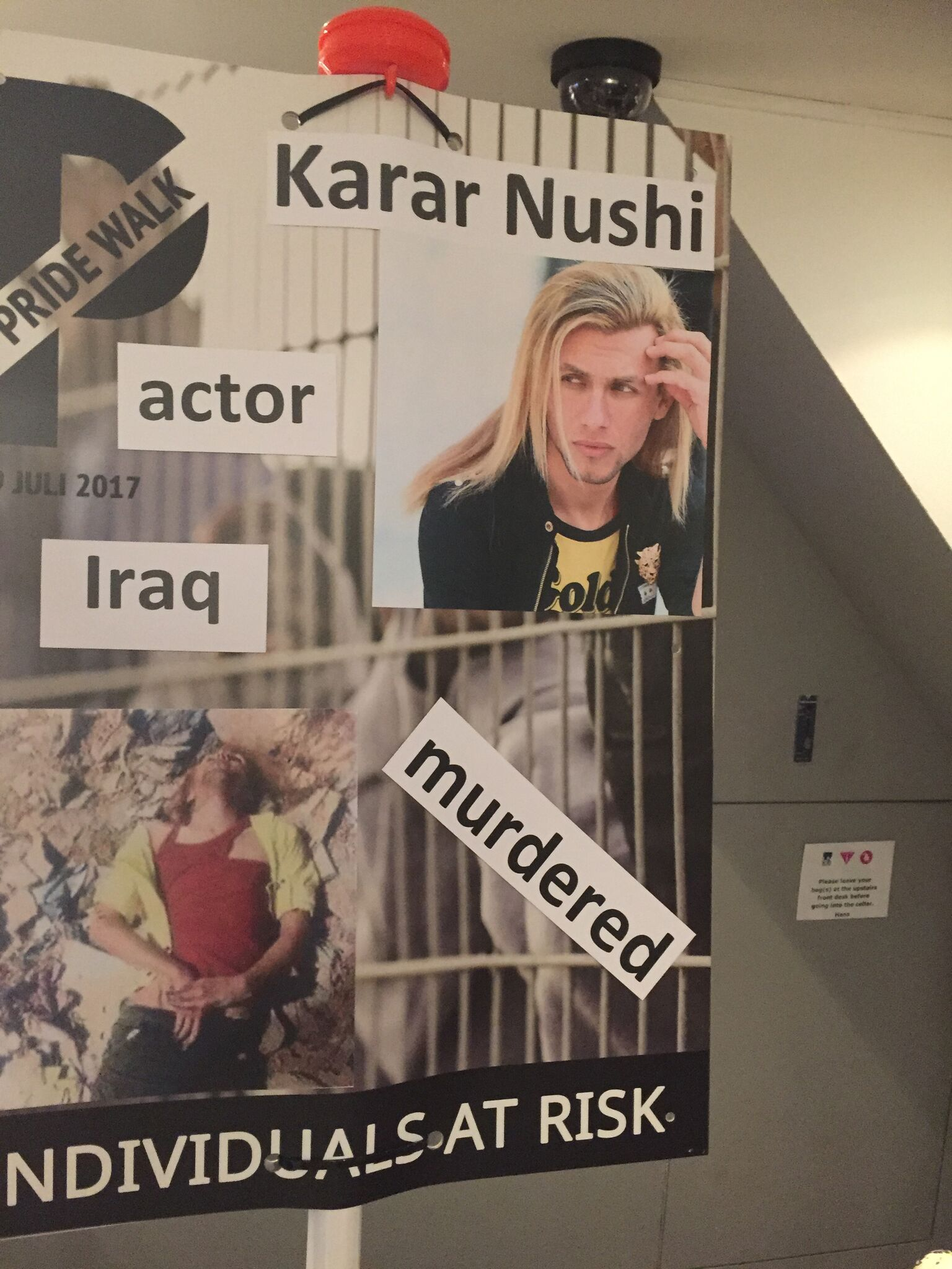 Memorial at a Pride Walk in 2017 focuses on the murder of Iraqi actor/model Karar Nushi, who had been accused of being gay (Photo courtesy of Pride Walk)