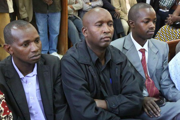 The Rev. James Maina Maigua, Archdeacon John Njogu Gachau, and the Rev. Paul Mwangi Warui at Nyeri Law Courts in Kenya (Faith Nyamai photo courtesy of The Nation)