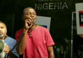 Edafe Okporo at the 2017 rally at the Nigerian consulate in New York City.