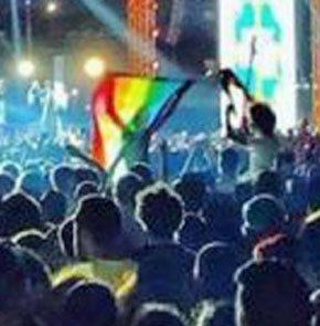 Rainbow flag displayed at the Sept. 22 Mashrou' Leila concert in Cairo. (Photo courtesy of youm7.com)