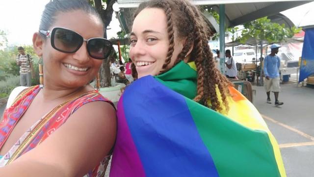 Scene at the Barbados counter-protest. (Photo courtesy of Nastassia Rambarran)