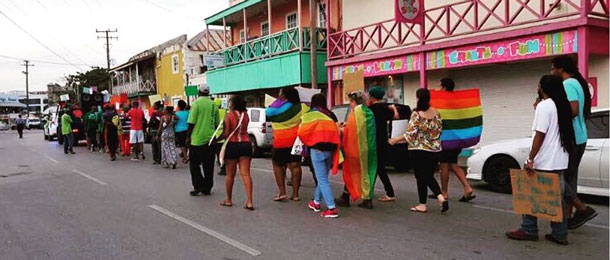 Counter-protesters follow Saturday's protesters in Barbados. (Photo courtesy of Nastassia Rambarran)