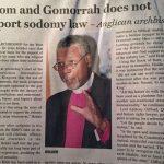 Page 1 article about Archbishop John Holder's speech.(Colin Stewart photo)