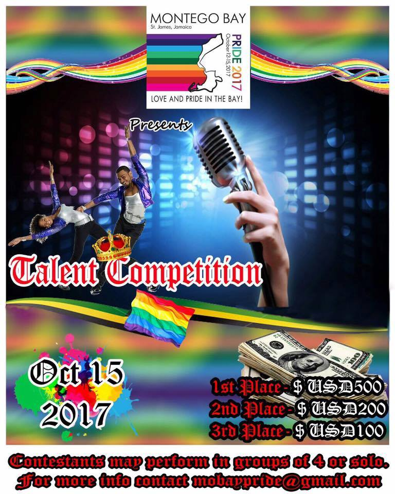 Poster for Montego Bay Pride's inaugural talent show. (Photo courtesy of Maurice Tomlinson via Facebook)