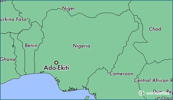 Location of Ado Ekiti in Ngeria (Map courtesy of World Atlas)