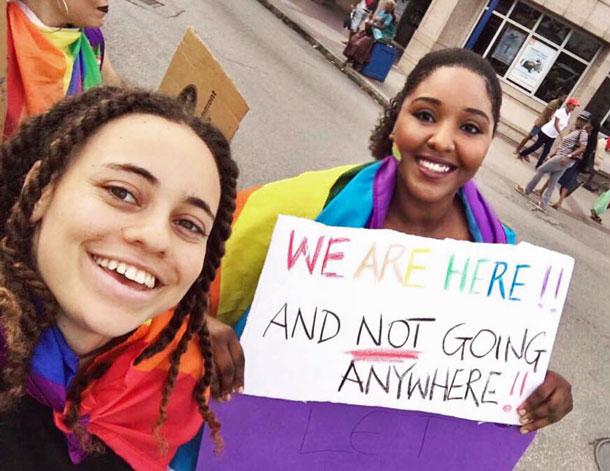 Barbados counter-protest. (Photo via Facebook)