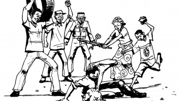 """Rural communities in Uganda unfortunately aren't the only places where residents' uninformed fears and hatred of their LGBTI neighbors leads to the type of human rights violations frequently called """"mob justice."""" (Artwork courtesy of Vincent Kyabayinze)"""