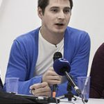 Maxim Lapunov addresses Moscow press conference (Photo courtesy of Novaya Gazeta)