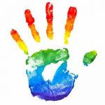 """Rainbow-colored hand print accompanies the """"Pride Dairies"""" podcast episode about religion and sexuality."""