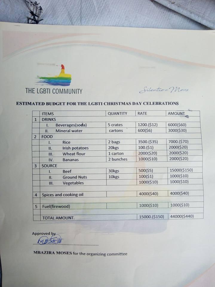 Christmas list for LGBTI refugees at Kakuma Camp.