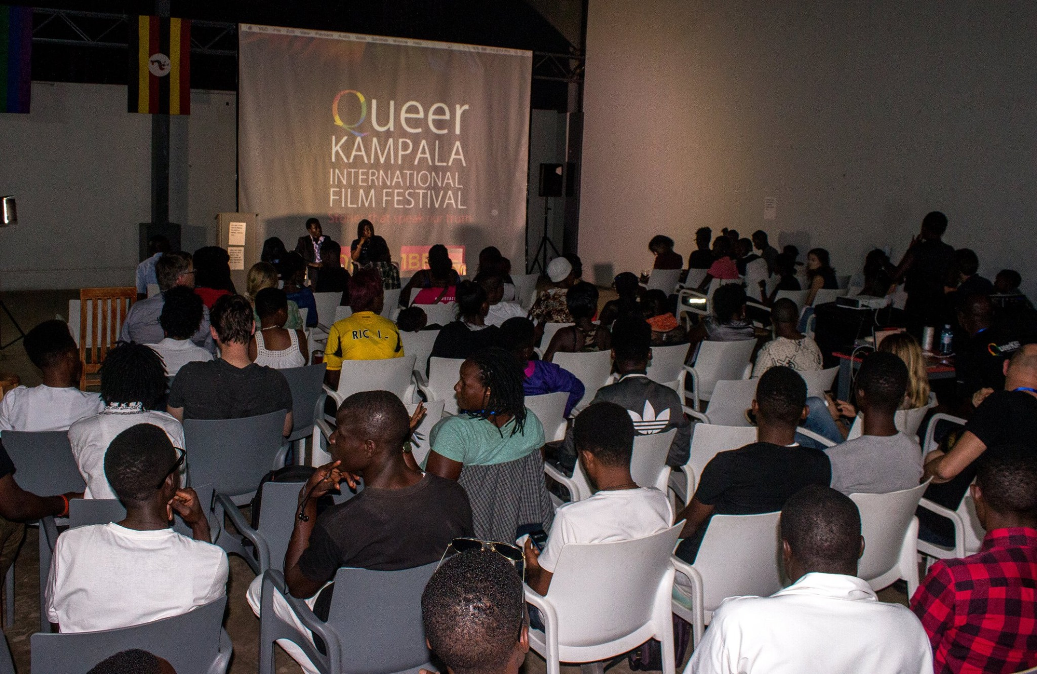 Sold-out opening night of Queer Kampala International Film Festival. (Photo courtesy of Queer KIFF)