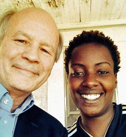 Colin Stewart, new president of the St. Paul's Foundation, meets with Ugandan LGBTI rights activist Clare Byarugaba during her visit to Los Angeles in 2014. Byarugaba was co-convenor of Uganda's Civil Society Coalition on Human Rights and Constitutional Law. After her work there ended, she became the convener of the Ugandan chapter of the LGBTI support organization PFLAG.