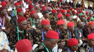 A gathering of traditional chiefs in Nigeria.
