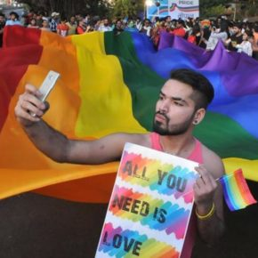 Protest targeting India's anti-gay law, Section 377 (Mujeeb Faruqui photo courtesy of Hindustan Times)