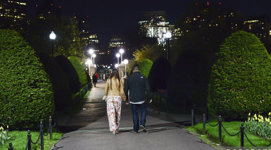 Pedestrians in a Boston park.