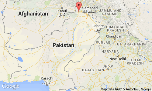 Location of Peshawar in Pakistan.