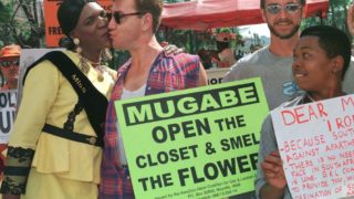 Protesting against Zimbabwe's homophobia. (Juda Ngwenya photo courtesy of Reuters and The Conversation)