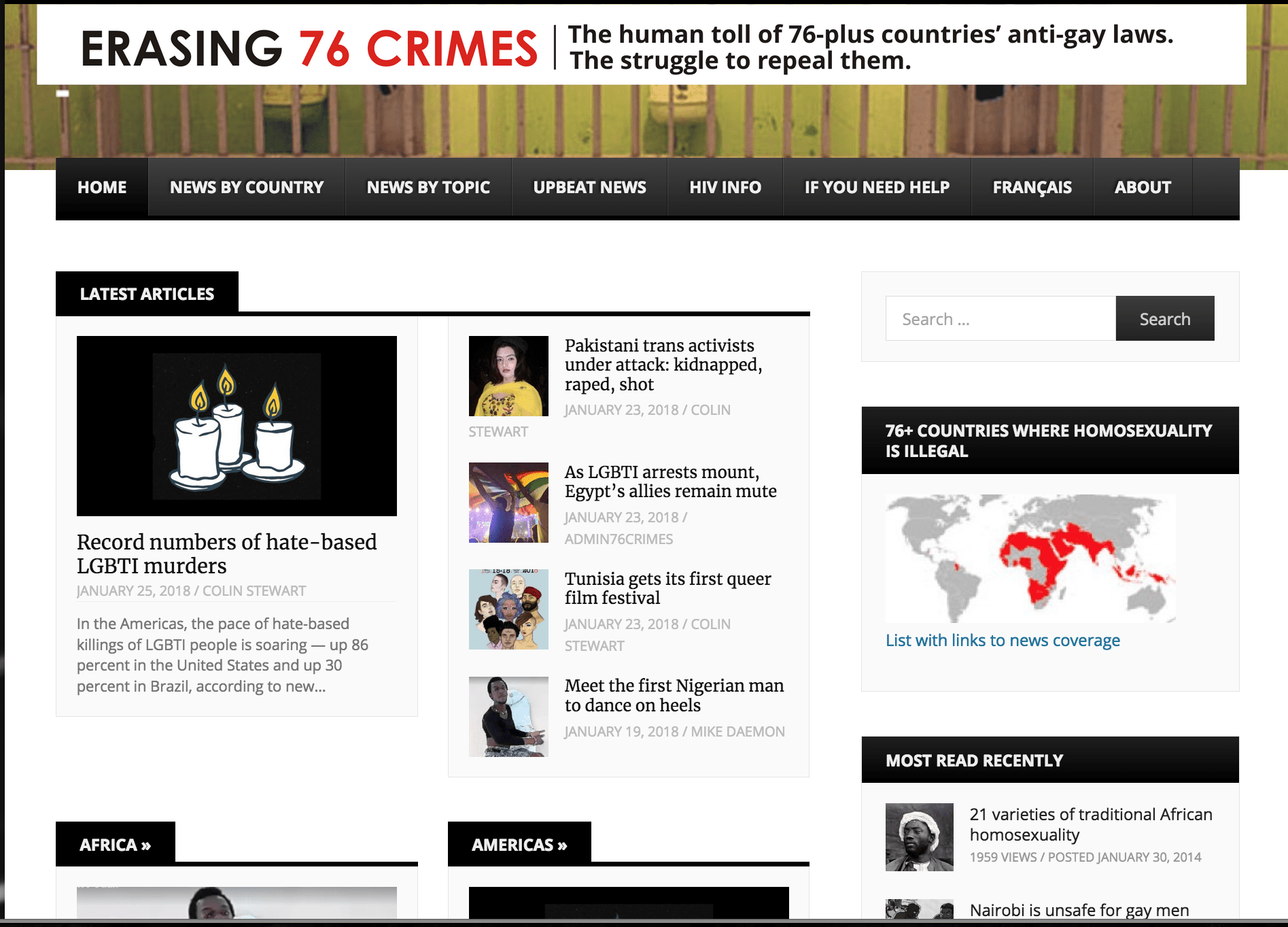 The top of the Erasing 76 Crimes homepage on Jan. 25, 2018.
