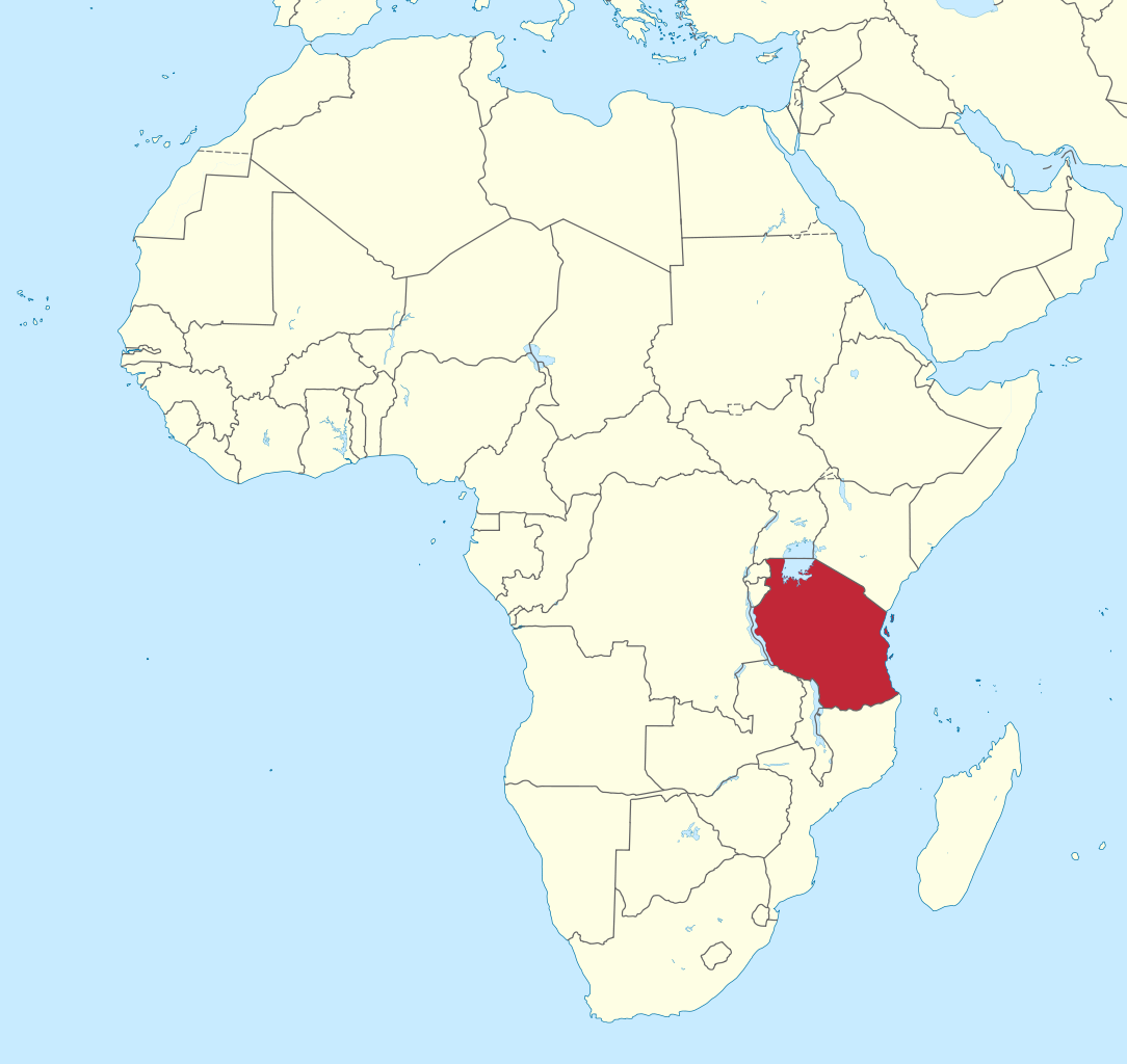Location of Tanzania in East Africa. (Map courtesy of Wikimedia Commons)