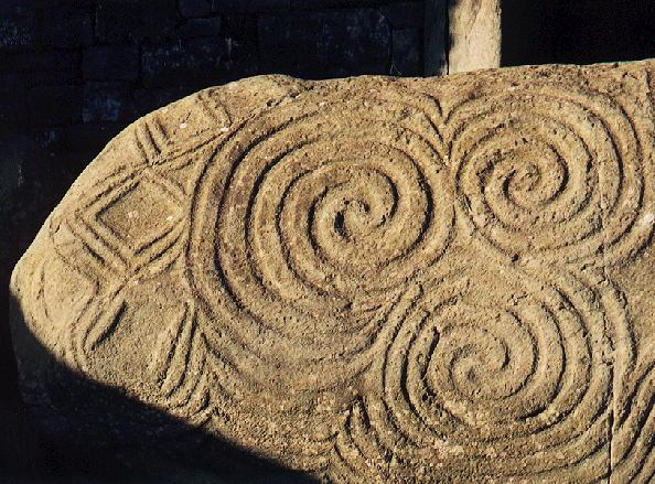 Spiral designs from Stone Age site at Newgrange, Ireland. (Photo courtesy of the Rev. Albert Ogle)