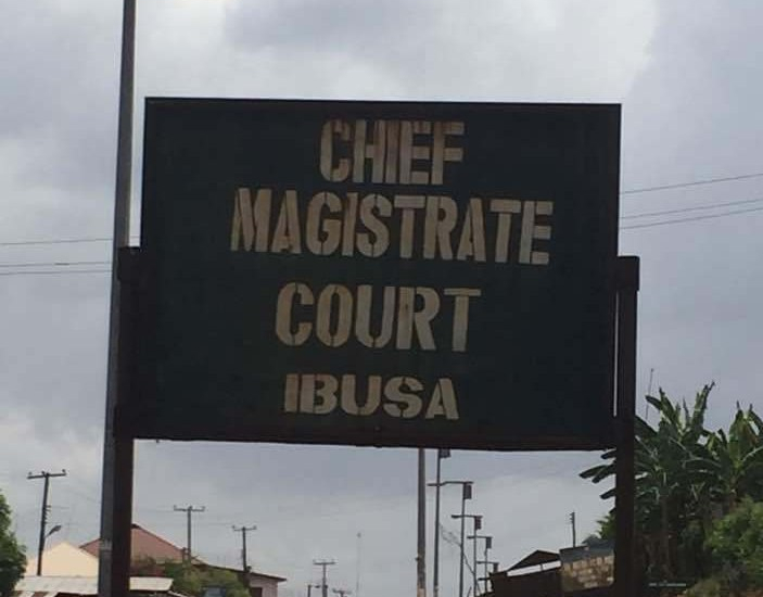 Sign for the Chief Magistrate's Court in Ibusa, Delta State, Nigeria.