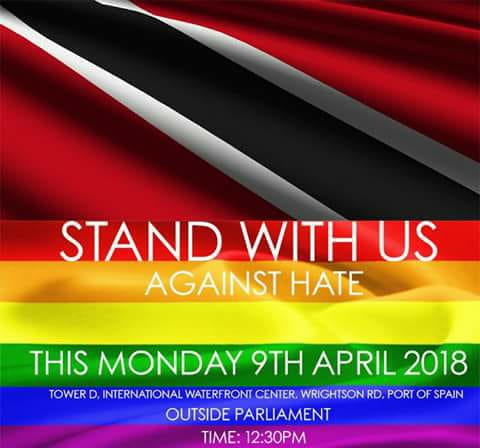 Poster promotes an April 9 demonstration against Trinidad & Tobago's anti-sodomy law.
