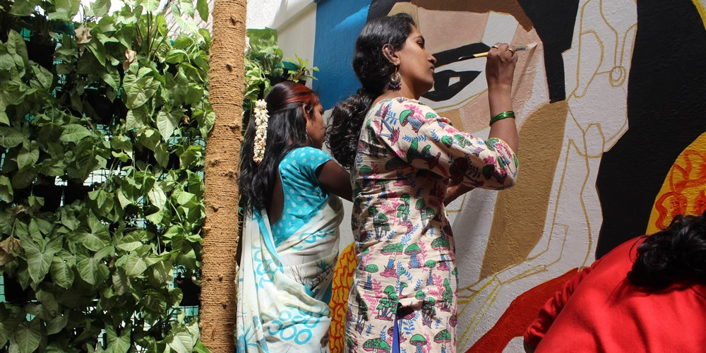 Trans women paint a mural in Bangalore, India, in March 2018. (Priti Salian photo courtesy of NBC News)
