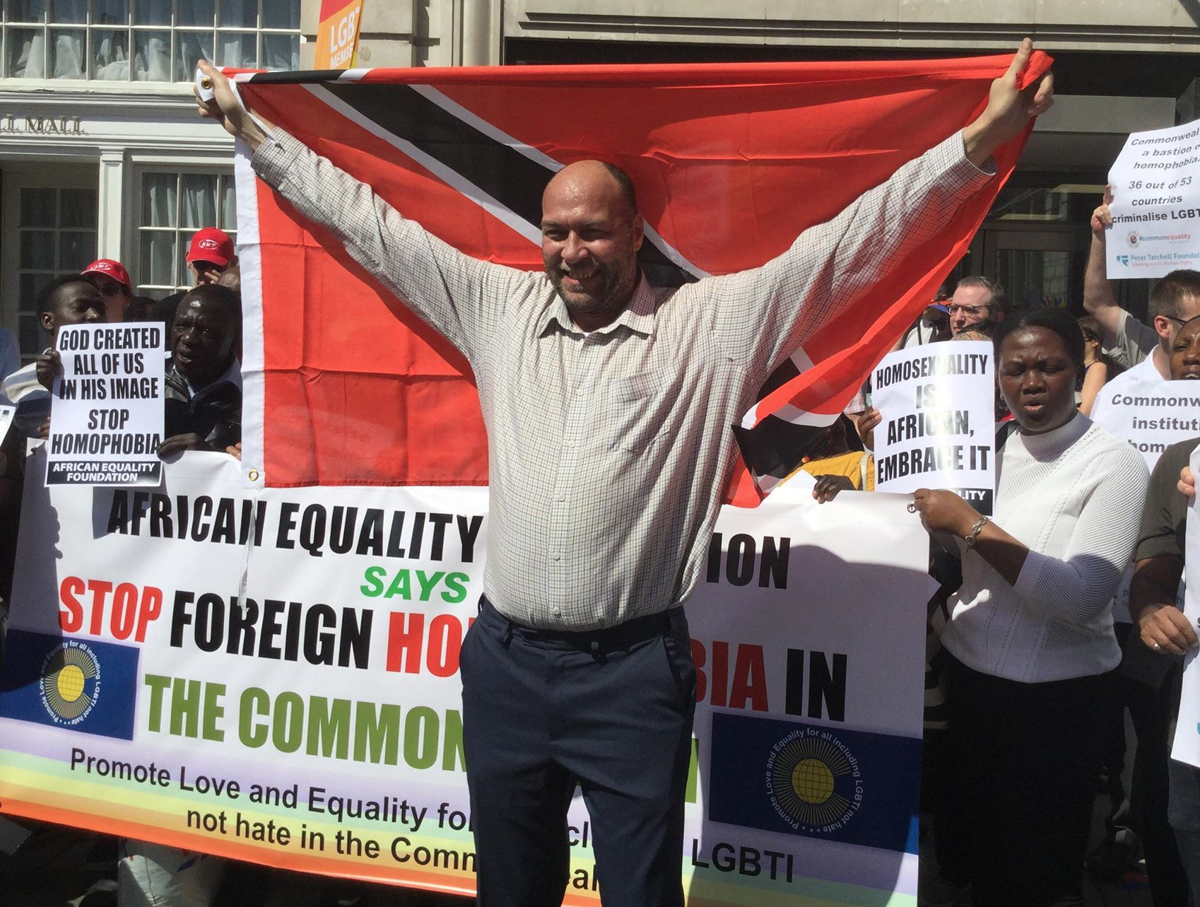 In London in April, Trinidadian/British activist Jason Jones celebrates the victory in his lawsuit to overturn the Trinidad anti-gay law -- and pushes for other Commonwealth countries to follow suit. (Photo courtesy of Edwin Sesange)