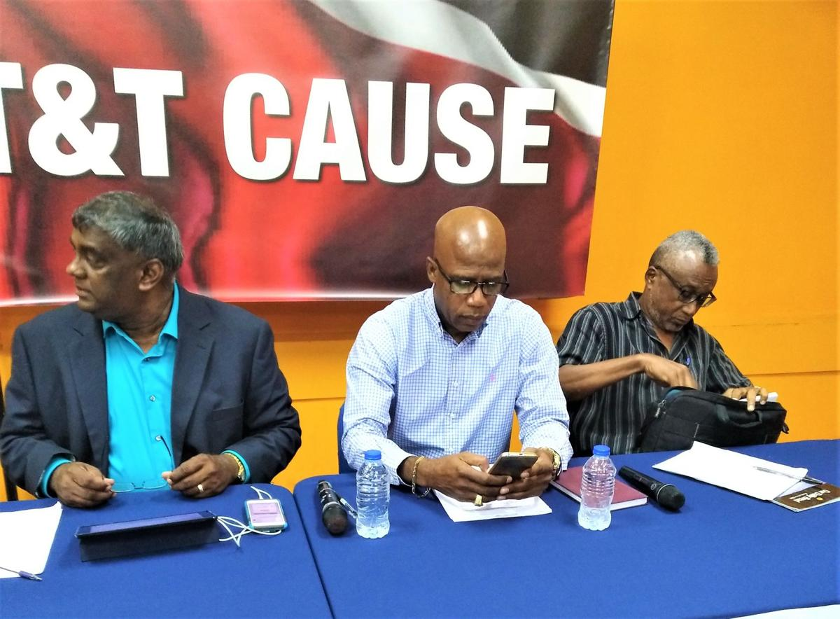 Members of T&T Cause prepare for their press conference. (Renuka Singh photo courtesy of Trinidad Express)