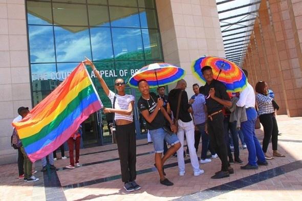 Legabibo members at court. (Thalefang Charles photo courtesy of Mmegi Online)