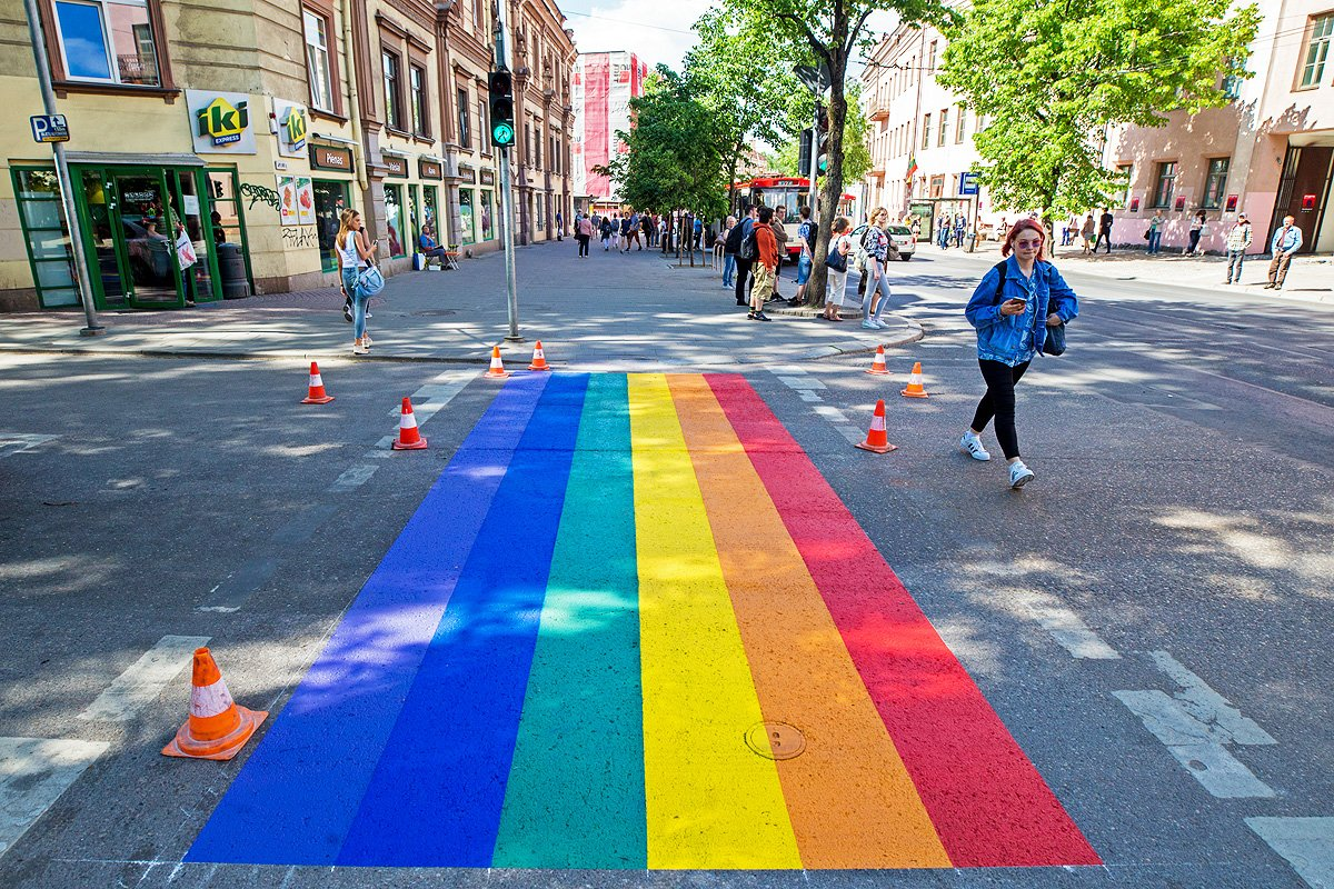 Rainbow crosswalk honors IDAHOT in Lithuania. (Photo courtesy of the Lithuanian Gay League)