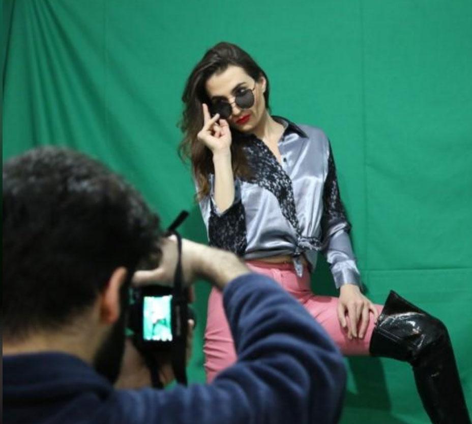 Scene from a photo shoot for Lebanese trans model Sasha Elijah (Heba Kanso photo courtesy of Thomson Reuters Foundation)