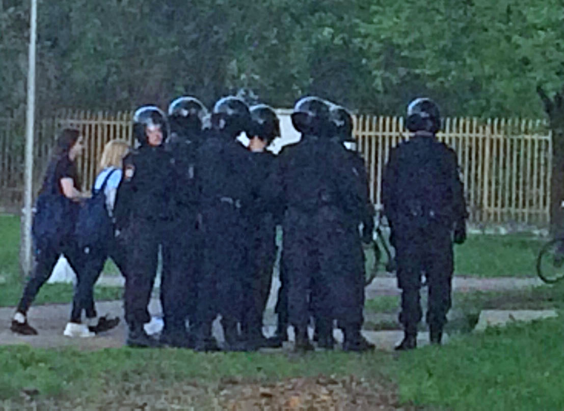 St. Petersburg police gather near Coming Out rally site on May 17. (Photo courtesy of Coming Out)