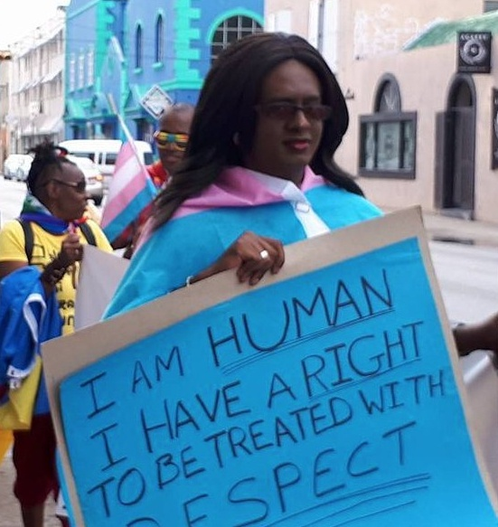 Alexa D.V. Hoffmann marches in Barbados Pride 2017. (Photo courtesy of Maurice Tomlinson)