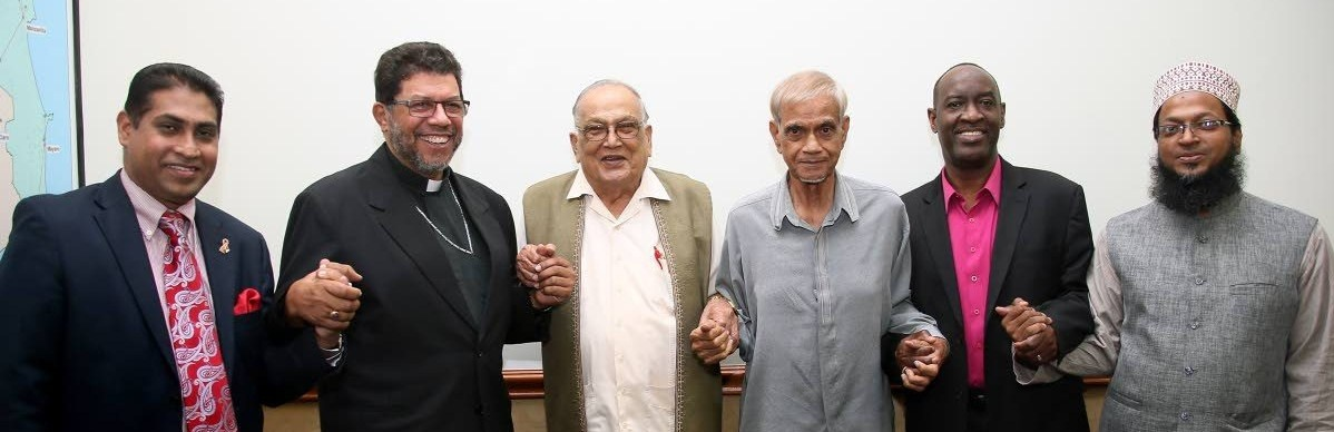 Representing their religions at a meeting in Port of Spain, Trinidad, to speak against same-sex marriage are (from left) Winston Mansingh of the Faith Based Network, Roman Catholic Archbishop Jason Gordon, Maha Sabha secretary general Satnarayan Maharaj, ASJA head Yacoob Ali, Desmond Austin of the Evangelical Council and Mufti Mohammed Haque. (Azlan Mohammed photo courtesy of Trinidad Newsday)