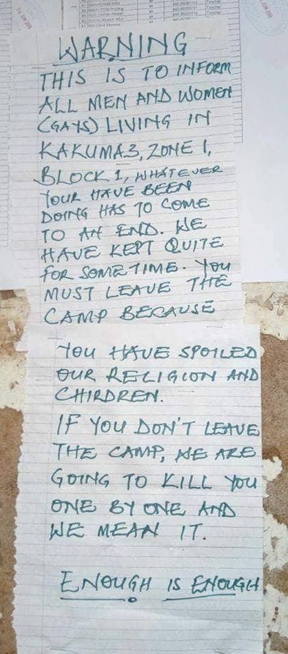 """Posted warning to LGBTI refugees at Kakuma Camp in Kenya contains death threat: """"If you don't leave the camp, we are going to kill you one by one."""" (Photo courtesy of Rainbow Flag Kakuma)"""