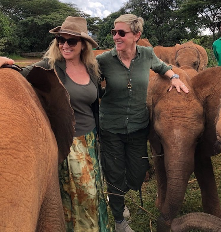 Portia de Rossi and Ellen DeGenerese on safari. (Photo courtesy of Eonline.com)