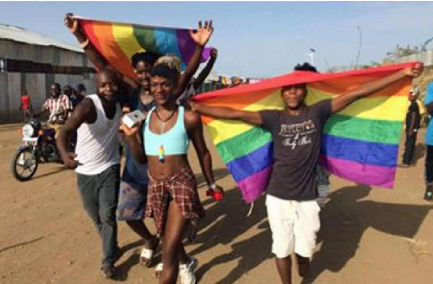 Scene from Pride at Kakuma refugee camp in Kenya. (Photo courtesy of Rainbow Flag Kakuma)