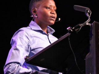 Val Kalende speaking for LGBT rights in 2012. Now she says she is no longer a lesbian. (Photo courtesy of Go Magazine)
