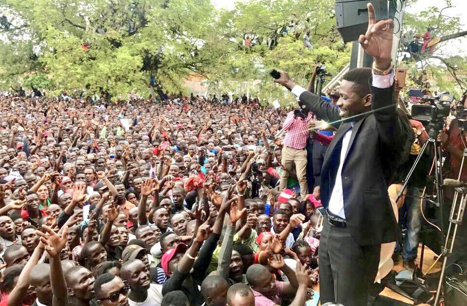 Robert Kyagulanyi at political rally in March 2018. (Photo courtesy of SoftPower News)