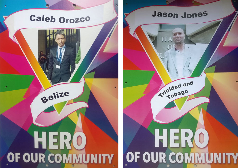 Two of the honored Heroes of Our Community at Pride Walk 2018 were activists whose court challenges overturned anti-gay laws in their countries: Caleb Orozco of Belize and Jason Jones of Trinidad. (Photos courtesy of Pride Walk)