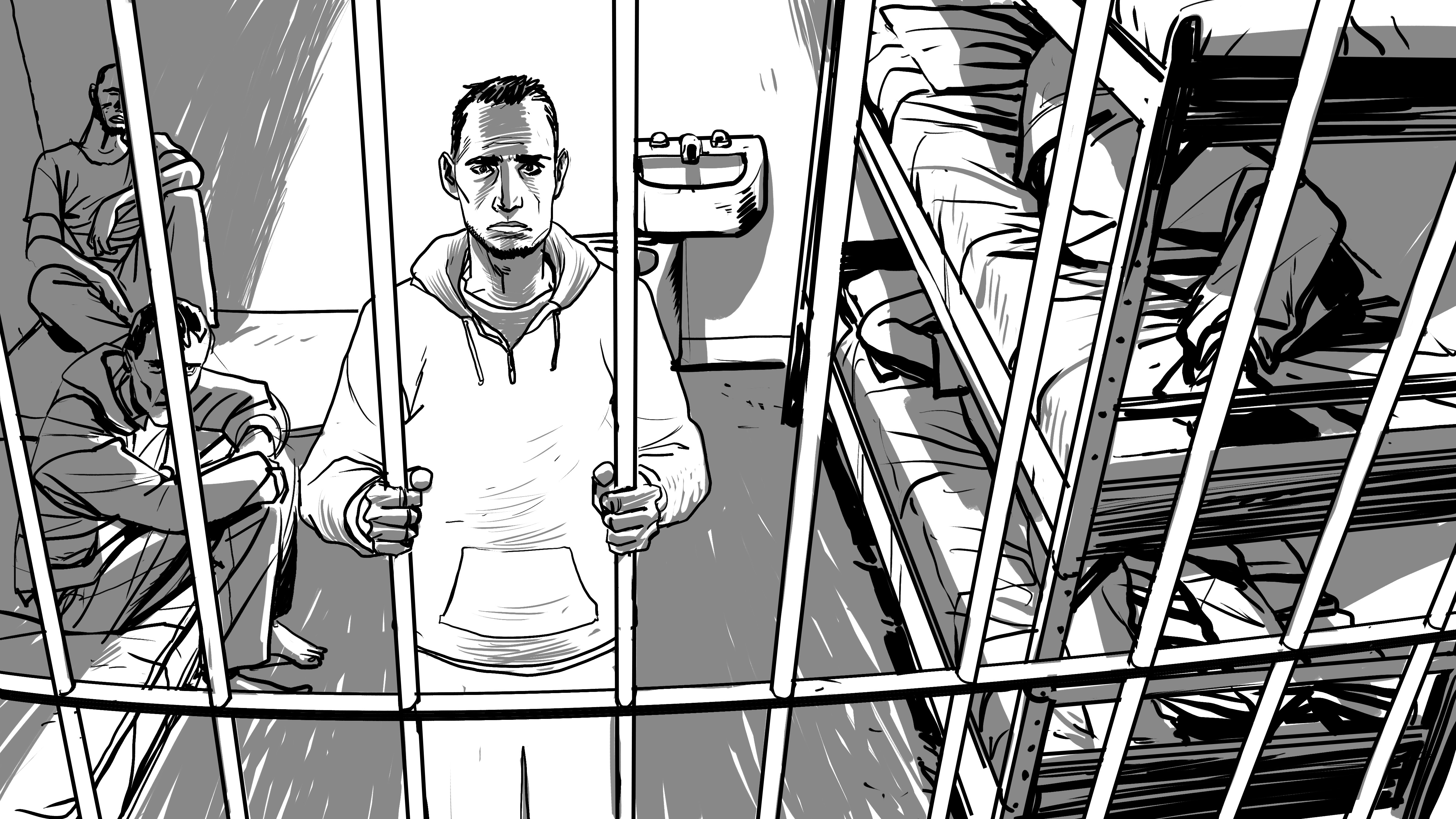 Article 230 of the Tunisian penal code provides for up to three years in prison for same-sex intimacy. (Illustration courtesy of HRW)