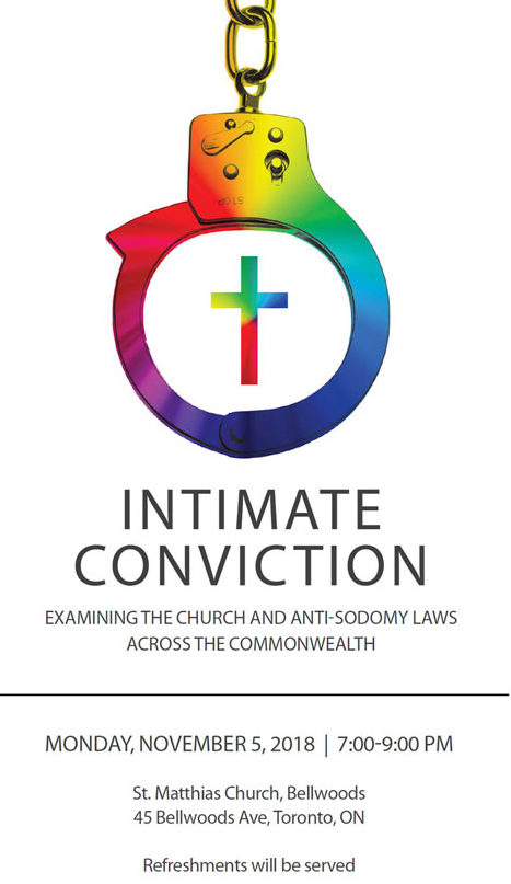 Graphic publicizing Nov. 5 launch of book based on last year's Intimate Conviction conference about anti-LGBT laws and the church.