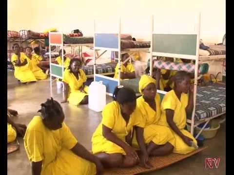 Crowded sleeping quarters at Luzira Women's Prison in Uganda. (NTV photo via YouTube)
